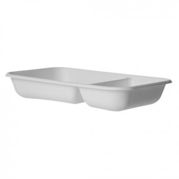 BARQUITA BLANCA GAMA BAGASSE by ECOPRODUCTS FORMATO 2 COMPARTIMENTOS - 245x170 MM