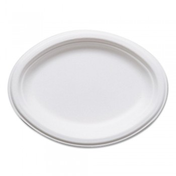 BANDEJA BLANCA OVALADA GAMA BAGASSE by ECOPRODUCTS - 254x190 MM